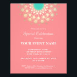 """Elegant Coral Pink and Gold Circle Motif Flyer<br><div class=""""desc"""">Chic and elegant with a contemporary touch. Beautiful faux gold foil mandala inspired rosette decoration with vivid turquoise center on coral background. Easily customize backside to your desired color. Note: gold leaf is a digital image - not the real thing. Ideal for bridal showers, weddings, new age events, yoga retreats,...</div>"""