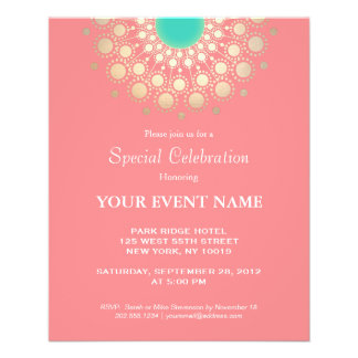 Elegant Coral Pink and Gold Circle Motif Flyer