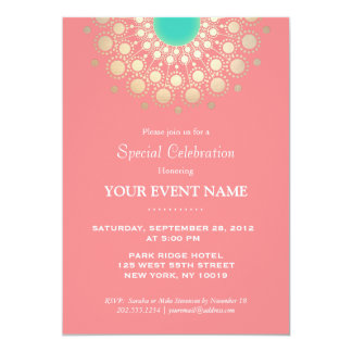 Elegant Coral Pink and Gold Circle Motif Party Card