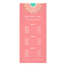 Elegant Coral Pink and Gold Circle Motif Rack Card