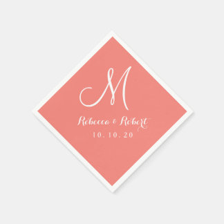 Elegant Coral Pink and White Monogram Paper Napkin