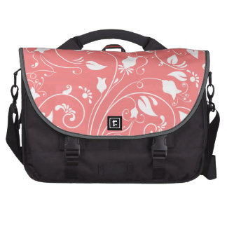 Elegant Coral Pink Floral Swirls; Flowers Laptop Messenger Bag
