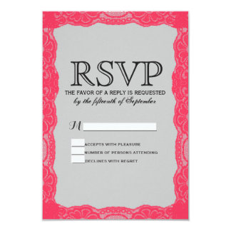 Elegant Coral Pink Lace Border & Slate Gray 3.5x5 Paper Invitation Card