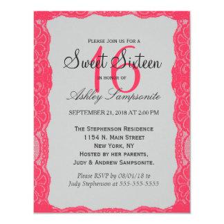 Elegant Coral Pink Lace Border & Slate Gray 4.25x5.5 Paper Invitation Card