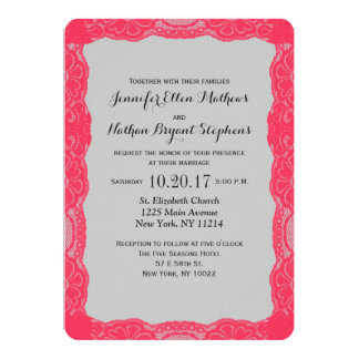 Elegant Coral Pink Lace Border & Slate Gray 5x7 Paper Invitation Card