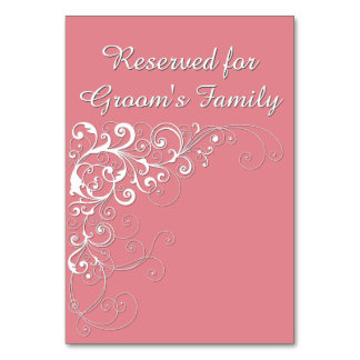 Elegant Coral Pink Reserved Wedding Table Card
