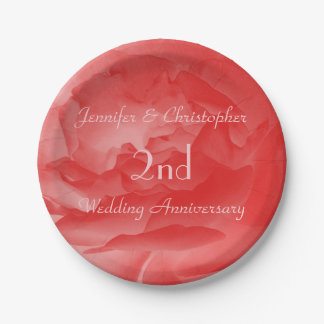 Elegant Coral Pink Rose, 2nd Wedding Anniversary Paper Plate