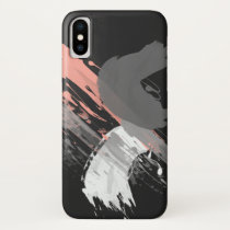 elegant coral pink white and grey brushstrokes iPhone XS case