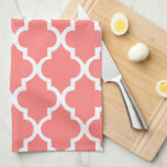 Elegant Coral Quatrefoil Tiles Pattern Hand Towels