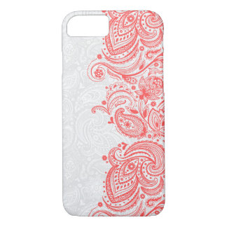 Elegant Coral-Red & White Floral Paisley Lace iPhone 7 Case