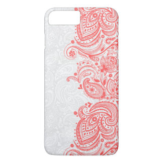 Elegant Coral-Red & White Floral Paisley Lace iPhone 8 Plus/7 Plus Case
