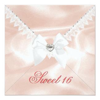 Elegant Coral Satin Look Sweet 16 Birthday Party Card