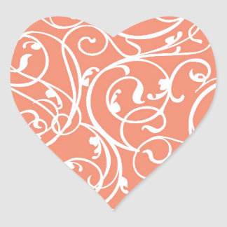 Elegant Coral Vintage Scroll Damask Pattern Heart Sticker