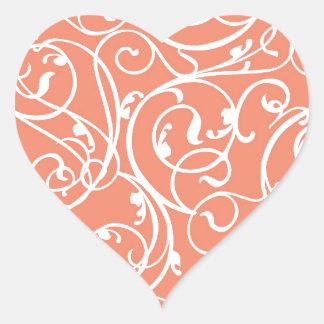 Elegant Coral Vintage Scroll Damask Pattern Heart Sticker