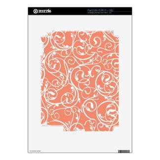 Elegant Coral Vintage Scroll Damask Pattern iPad 2 Skins