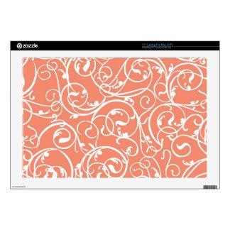 Elegant Coral Vintage Scroll Damask Pattern Skin For Laptop
