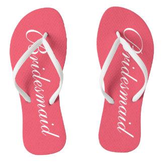 Elegant coral wedding flip flops for bridesmaids