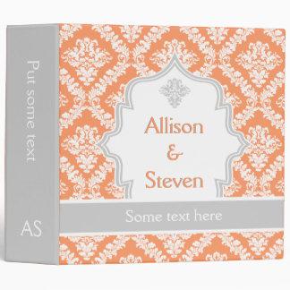 Elegant coral, white, grey damask wedding planner binders