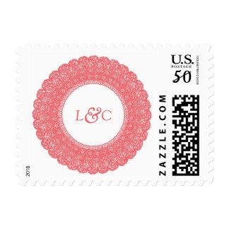 Elegant coral & white lace custom postage stamp
