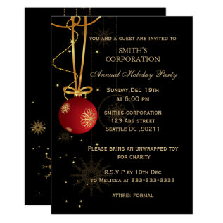 Elegant Corporate Holiday Party Invitations at Zazzle