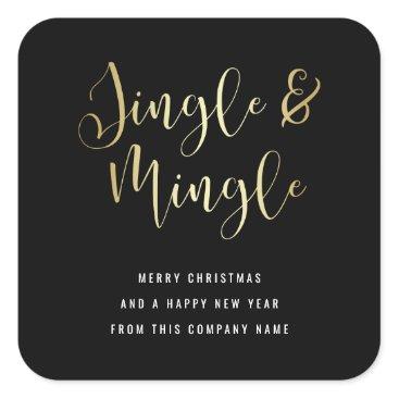Professional Business Elegant Corporate Jingle & Mingle Party Square Sticker