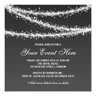 Elegant Corporate Party String Lights Black 5.25x5.25 Square Paper Invitation Card