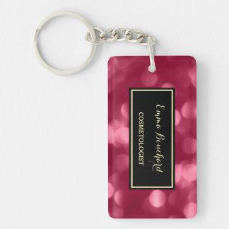 Elegant Cosmetologist Glamorous Pink Luxe Bokeh Double-Sided Rectangular Acrylic Keychain