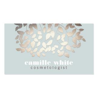 Elegant Cosmetologist Gold Leaf Look Light Blue Business Cards