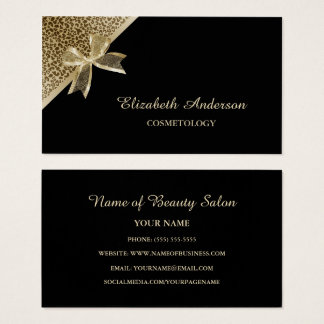 Elegant Cosmetology Black and Gold Leopard Ribbon Business Card