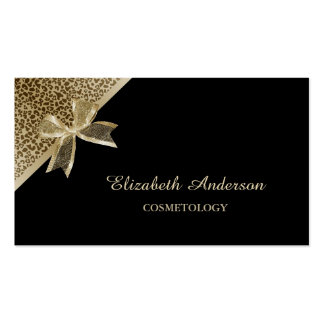 Elegant Cosmetology Black and Gold Leopard Ribbon Double-Sided Standard Business Cards (Pack Of 100)