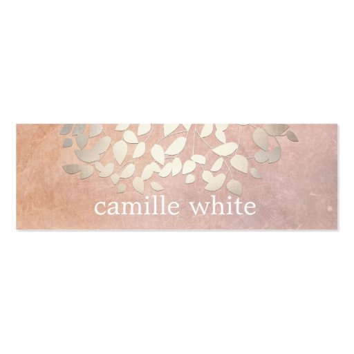 Elegant Cosmetology Faux Gold Foil Leaves Peach Business Card Templates