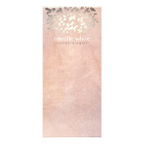 Elegant Cosmetology Faux Gold Foil Leaves Peach Rack Card