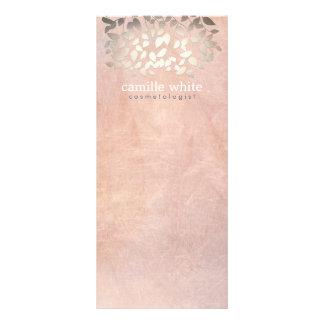 Elegant Cosmetology Faux Gold Foil Leaves Peach Rack Card