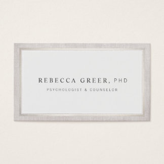 Elegant Counselor and Therapist Light Gray Business Card
