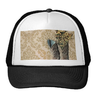 elegant country cowboy boots wildflowers floral trucker hat