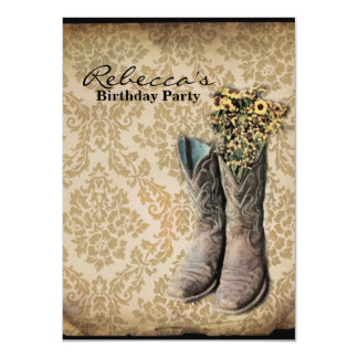 elegant country cowboy  vintage birthday party card