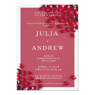 Elegant Country Cranberry Wedding Invitation