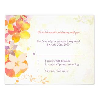 Elegant Country Flowers Wedding RSVP 4.25x5.5 Paper Invitation Card