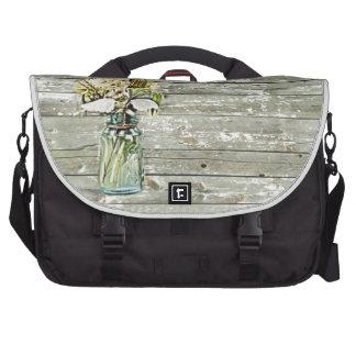elegant country mason jar wildflowers floral laptop bag