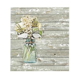 elegant country mason jar wildflowers floral note pad