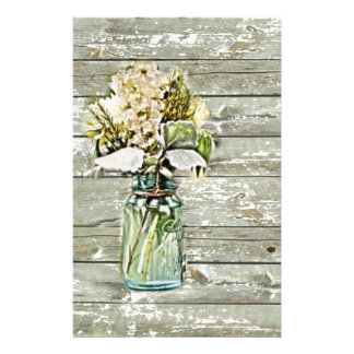 elegant country mason jar wildflowers floral stationery