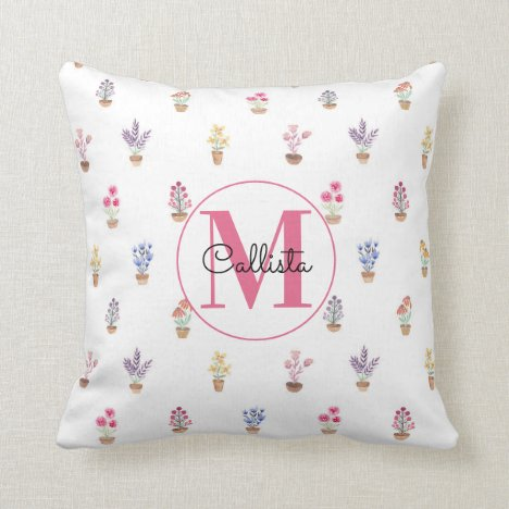 Elegant Country Potted Flowers Watercolor Monogram Throw Pillow