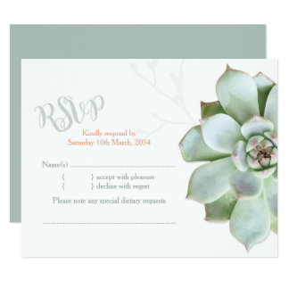 Elegant Country Succulent Wedding RSVP Card