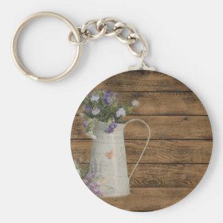 elegant country tin vase wildflowers floral keychain