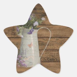 elegant country tin vase wildflowers floral sticker