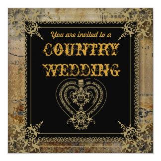 "Elegant Country Wedding Invitations 5.25"" Square Invitation Card"