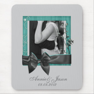 elegant country wildflower teal wedding mouse pad