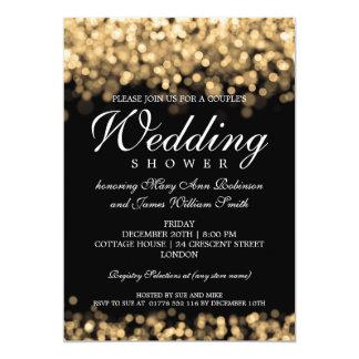 Elegant Couples Shower Gold Lights Invitations