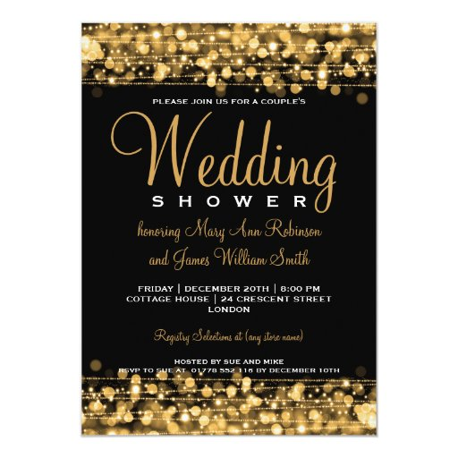 Elegant Couples Shower Party Sparkles Gold Invites