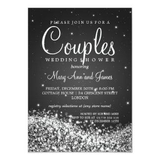 Elegant Couples Shower Sparkling Wave Black 4.5x6.25 Paper Invitation Card